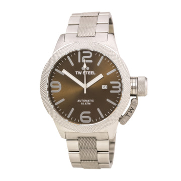 TW Steel CB26 Men's Canteen Bracelet Automatic Brown Sunray Dial Stainless Steel Date Watch
