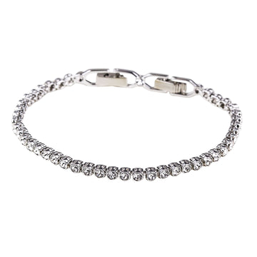 "Swarovski 1808960 Women's Emily Rhodium-Plated Clear Crystal Cupchain Bracelet, 6-7/8"" Length"