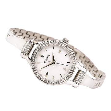 Bulova 96L128 Women's Crystal White MOP Dial Stainless Steel Bangle Bracelet Watch