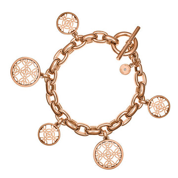 Michael Kors Women's Disc Charm Bracelet - Monogram Rose Gold Steel | MKJ4474791