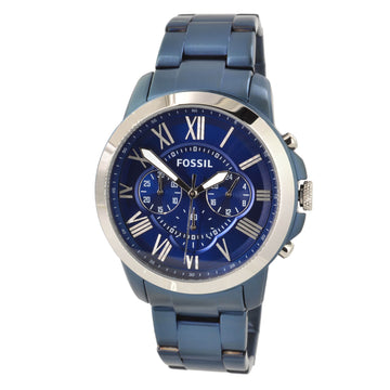 Fossil FS5230 Grant Mens Blue IP Steel Bracelet Chrono Watch