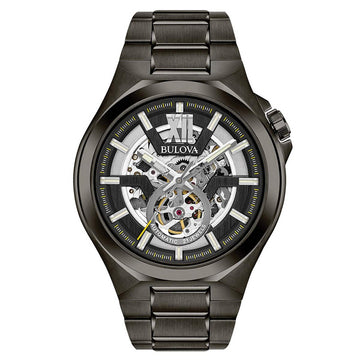 Bulova 98A179 Men's Automatic Semi-Skeleton Black Dial Power Reserve Gunmetal Steel Bracelet Watch