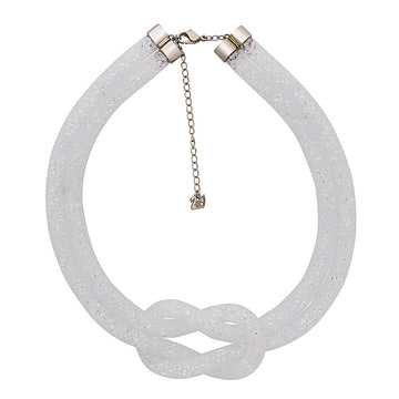 Swarovski Women's Knot Necklace - Stardust Crystal Grey Nylon Fishnet Tube | 5138989