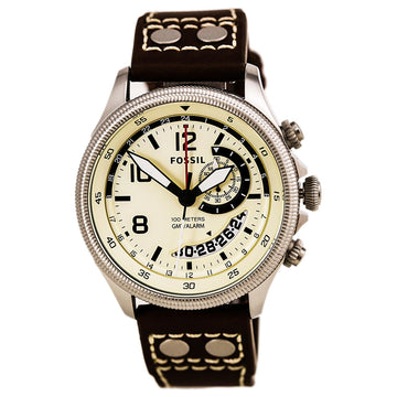 Fossil Men's Leather Strap Watch - Recruiter GMT Alarm Beige Dial | FS5043