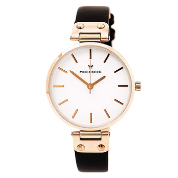 Mockberg MO1001 Women's Sigrid White Dial Rose Gold Steel Black Leather Strap Quartz Watch