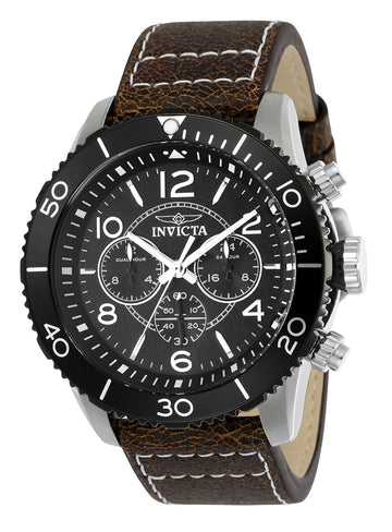 Invicta Men's Aviator Quartz Watch - Dual Time Leather Strap Black Dial | 24552