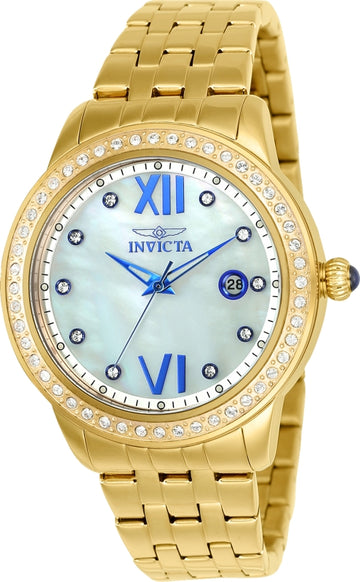Invicta Women's Angel Crystal Watch - MOP Dial Yellow Gold Steel Bracelet | 23662