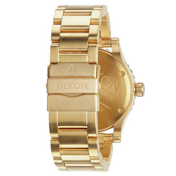 Nixon A277513 Men's Diplomat SS GMT Yellow Gold Steel Bracelet Black Dial Swiss Dive Watch