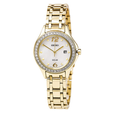 Seiko SUT314 Women's Core Solar Swarovski Crystals Yellow Gold Steel Bracelet MOP Dial Date Watch