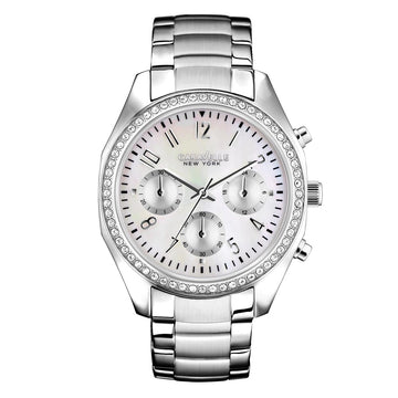 Caravelle 43L159 Women's Crystal New York MOP Dial Chrono Stainless Steel Watch