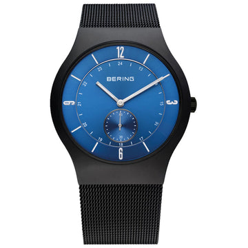 Bering 11940-227 Men's Classic Blue Dial Black IP Steel Mesh Bracelet Watch