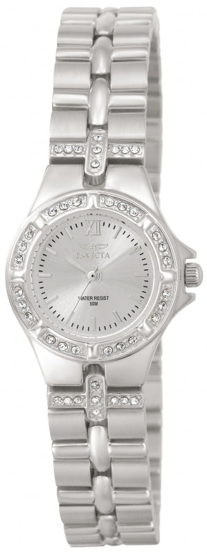 Invicta 0132 Women's Steel Bracelet Swiss Quartz Wildflower Crystal Silver Dial Watch