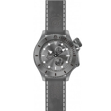 Invicta Men's Leather Strap Watch - Russian Diver Gunmetal Dial Quartz Date | 22012