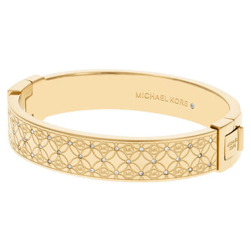 Michael Kors MKJ4471710 Monogram Yellow Gold Stainless Steel Women's Crystal Bangle Bracelet