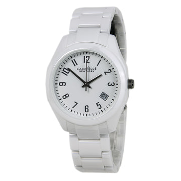 Caravelle 45M107 Women's New York Emma Ceramic White Dial Watch