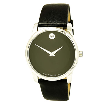 Movado 0606502 Men's Museum Classic Black Leather Strap Black Dial
