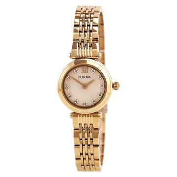 Bulova Women's Diamond Watch - Rose Gold Steel Bracelet Rose Gold MOP Dial | 97P116