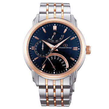 Orient DE00004D Men's Orient Star Retrograde Blue Dial Two Tone Steel Automatic Watch
