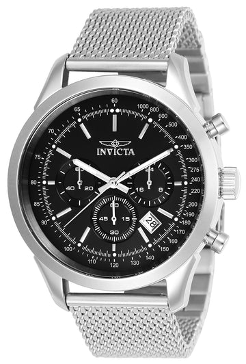 Invicta 24208 Men's Speedway Black Dial Stainless Steel Mesh Bracelet Chronograph Watch