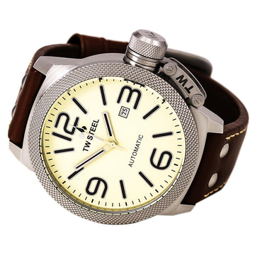 TW Steel TWA953 Men's Canteen Automatic Brown Leather Strap Beige Dial Date Watch