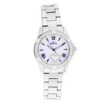 Invicta 23655 Women's Angel White Oyster Dial Steel Bracelet Crystal Watch