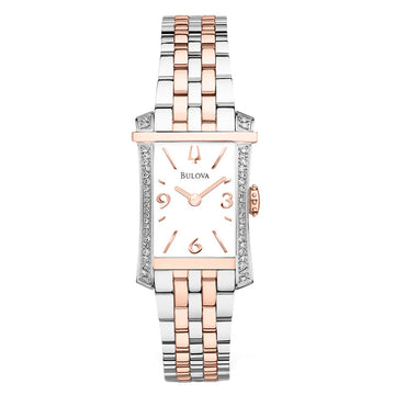 Bulova Women's Diamond Two Tone Steel Watch - Quartz White Dial | 98R186