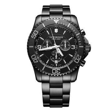 Victorinox Swiss Army Men's Chronograph Watch - Maverick Black Dial Black IP Steel | 241797