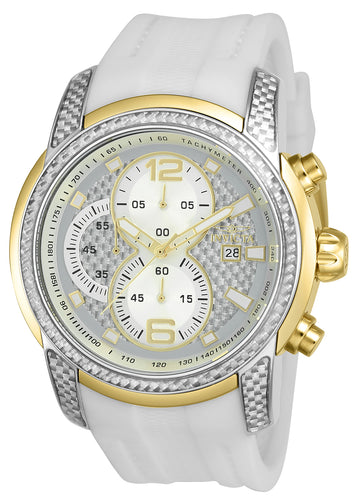Invicta 24240 Men's S1 Rally Chronograph Silver Glass Fiber Dial White Silicone Strap Watch