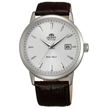 Orient ER27007W Men's Symphony Automatic Brown Leather Strap White Dial Date Watch