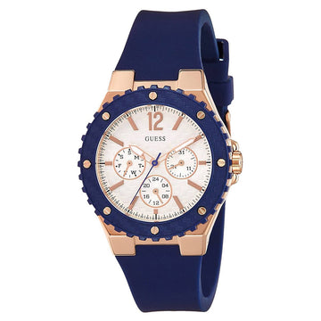 Guess W0149L5 Women's Blue Silicone Band Quartz Overdrive Silver Dial Day-Date Watch
