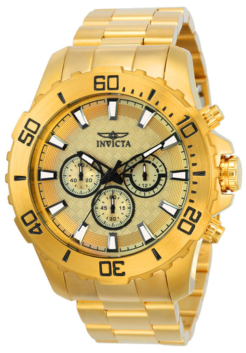 Invicta 22547 Men's Pro Diver Gold Dial Yellow Gold Steel Bracelet Chronograph Watch