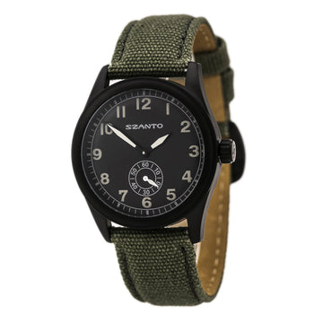 Szanto 1002 Men's 1000 Series Green Canvas Strap Black IP Steel Quartz