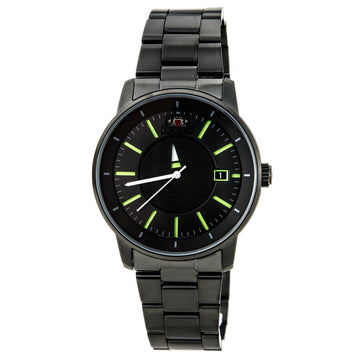 Orient Men's Automatic Watch - Disk Unique Rotating Disk Green Accents Black Dial