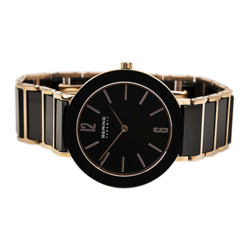 Bering 11435-746 Women's Ceramic Black Dial Black Ceramic & Rose Gold Steel Watch