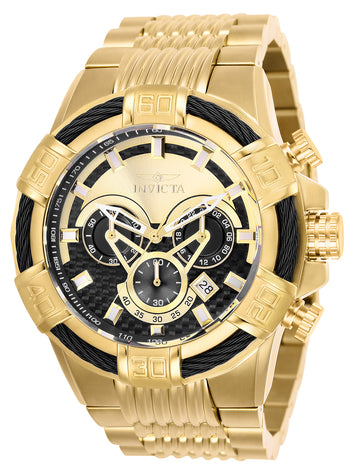 Invicta Men's Chronograph Watch - Bolt Gold & Black Dial Yellow Gold Steel | 25543