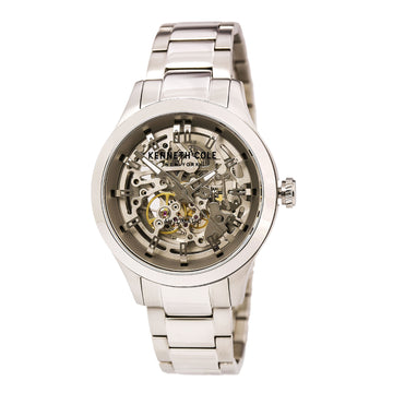 Kenneth Cole 10027341 Men's Stainless Steel Bracelet Automatic Transparency Skeleton Dial Watch