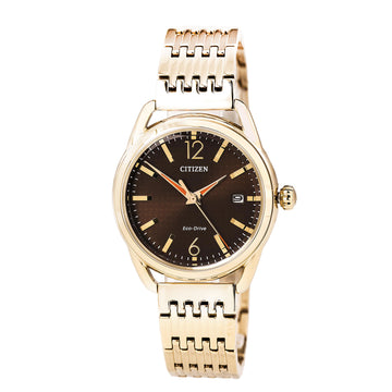 Citizen Women's Eco Drive Watch - LTR Rose Gold Steel Brown Dial Date | FE6083-56X
