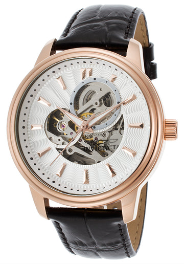 Invicta Men's Automatic Semi-Skeleton Silver Dial Watch - Vintage Brown Strap | 22579