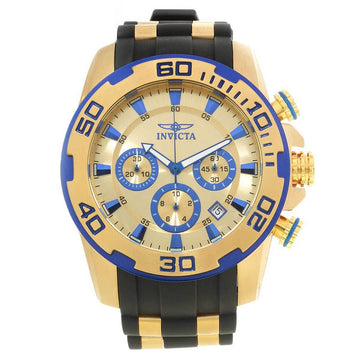 Invicta 22308 Men's Pro Diver Chronograph Gold Dial Yellow Gold Steel & Silicone Strap Watch