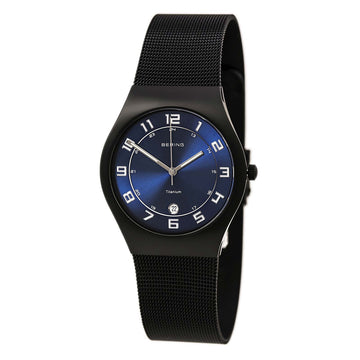 Bering 11937-227 Men's Titanium Classic Blue Dial Black Mesh Bracelet Watch