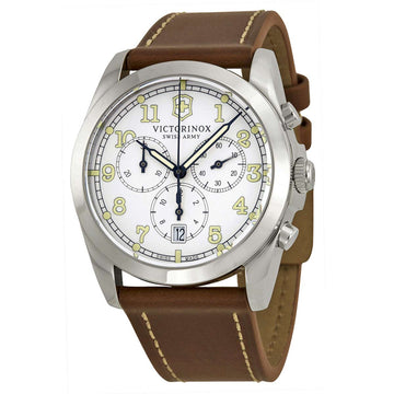 Swiss Army 241568 Men's Infantry White Dial Brown Leather Strap Chronograph Watch