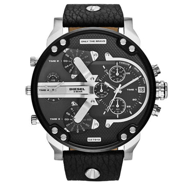 Diesel DZ7313 Men's Mr. Daddy 2.0 Black Dial Black Leather Strap Chronograph Watch