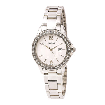 Seiko SXDF97 Women's Dress Stainless Steel Bracelet Crystals Accented Bezel White Dial Date Watch