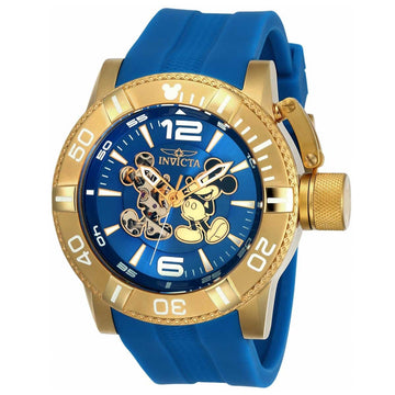 Invicta 23791 Men's Disney Edition Blue Semi-Skeleton Dial Blue Silicone Strap Automatic Watch