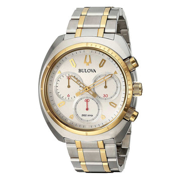 Bulova Men's Chronograph Watch - Curv Silver Dial Two Tone Steel | 98A157
