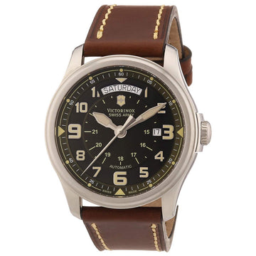Swiss Army 241396 Men's Infantry Vintage Green Dial Brown Leather Strap Automatic Watch
