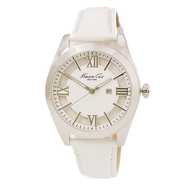 Kenneth Cole 10021282 Women's White Leather Band Quartz Dress Sport Silver Dial Date Watch