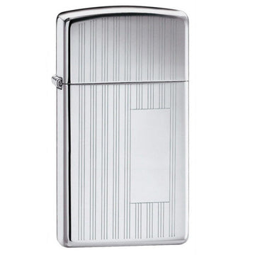 Zippo 1615 High Polish Chrome Ribbon Patterned Slim Windproof Lighter