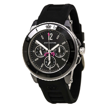 Juicy Couture 1900754 Women's Black Rubber Strap Quartz Pedigree Black Dial Day-Date Watch