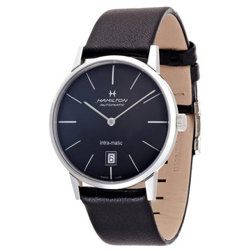 Hamilton H38455731 Men's Black Leather Swiss Automatic American Classic Watch